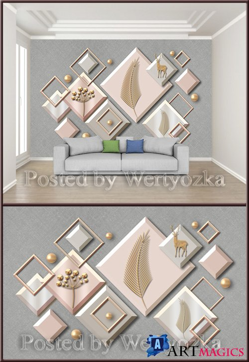 3D psd background wall abstract geometric figure