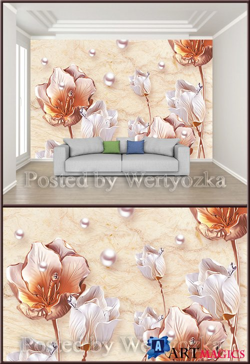 3D psd background wall embossed floral