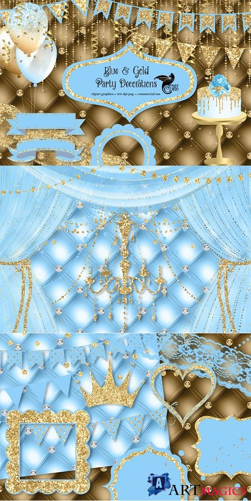 Blue and Gold Party Decorations - 4678900
