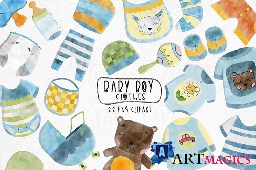 Watercolor Baby Boy Clothes clipart. Set of 22 children png  - 481048