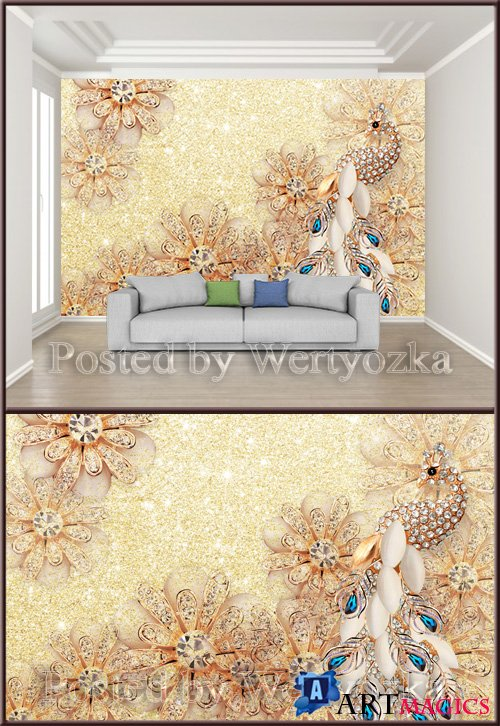 3D psd background wall gorgeous diamond jewelry flower gem peacock