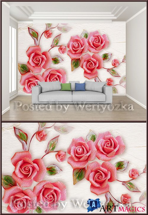 3D psd background wall embossed rose flower