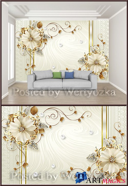 3D psd background wall champagne luxury jewelry flower