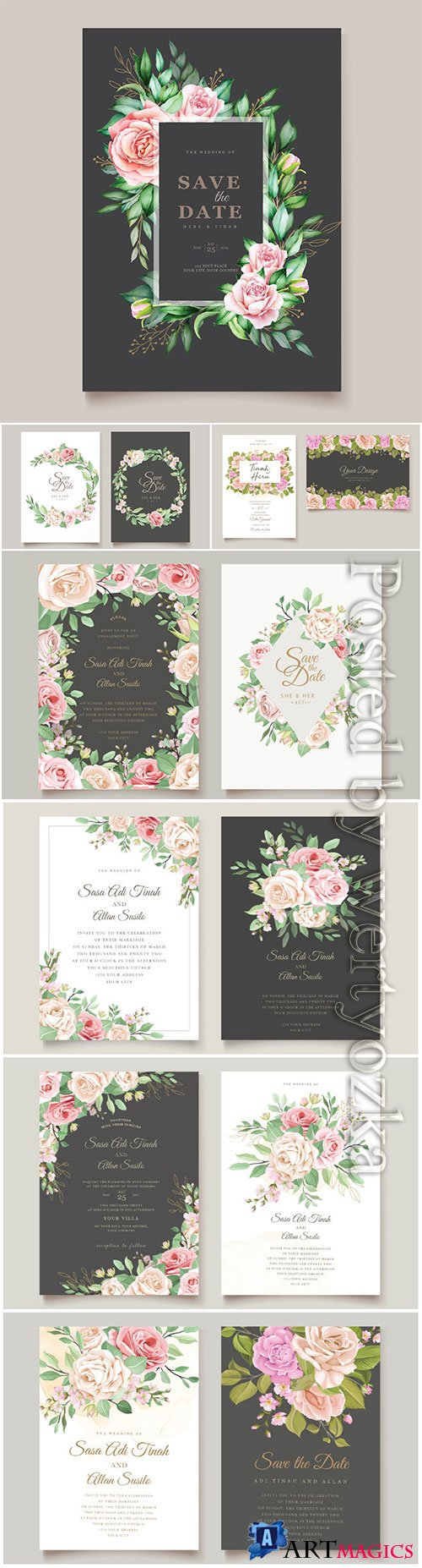 Wedding invitation vector card with floral and leaves