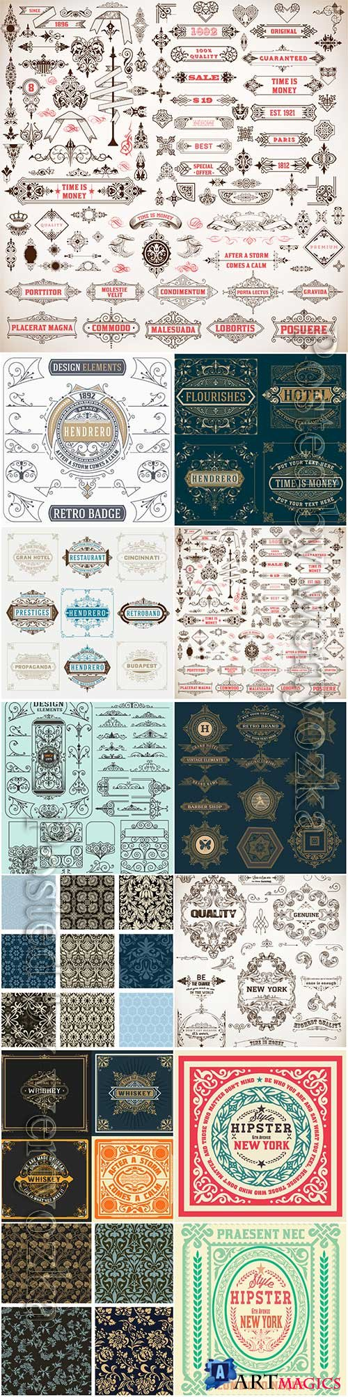Vector vintage labels, emblems, logos, ribbons, patterns # 5