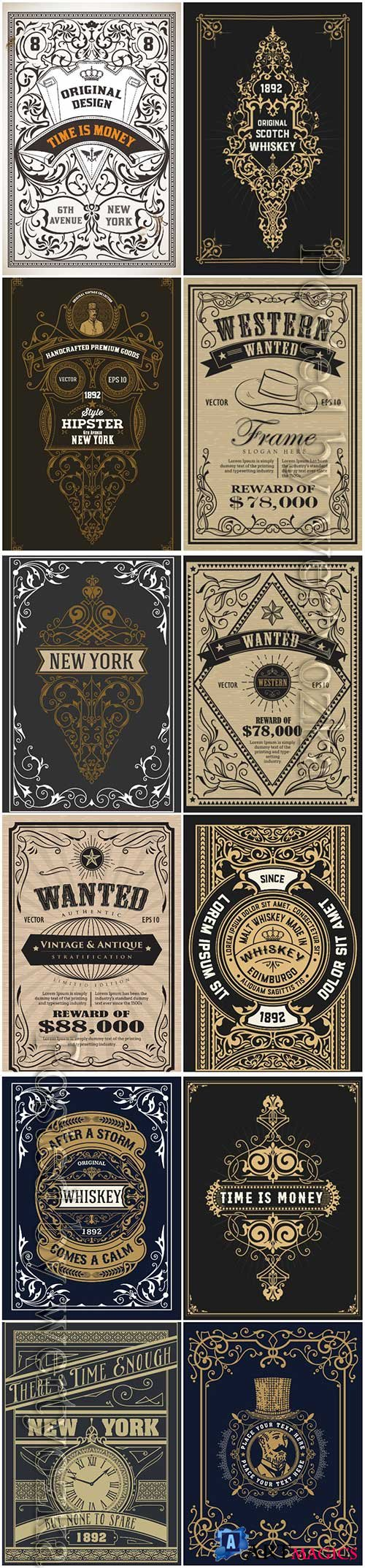 Vector vintage labels, emblems, logos, ribbons, patterns # 4