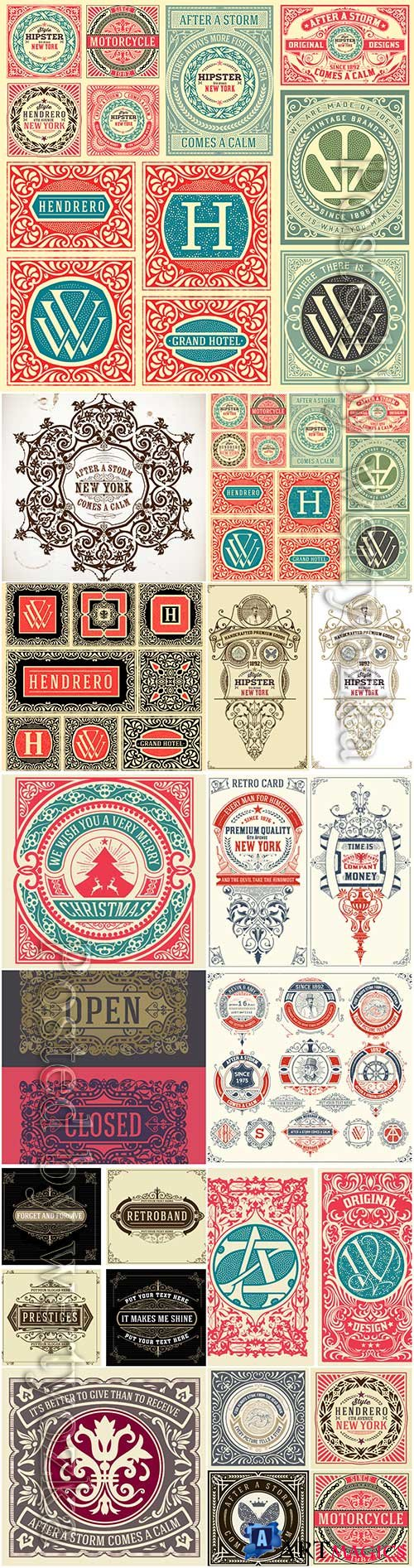 Vector vintage labels, emblems, logos, ribbons, patterns # 2