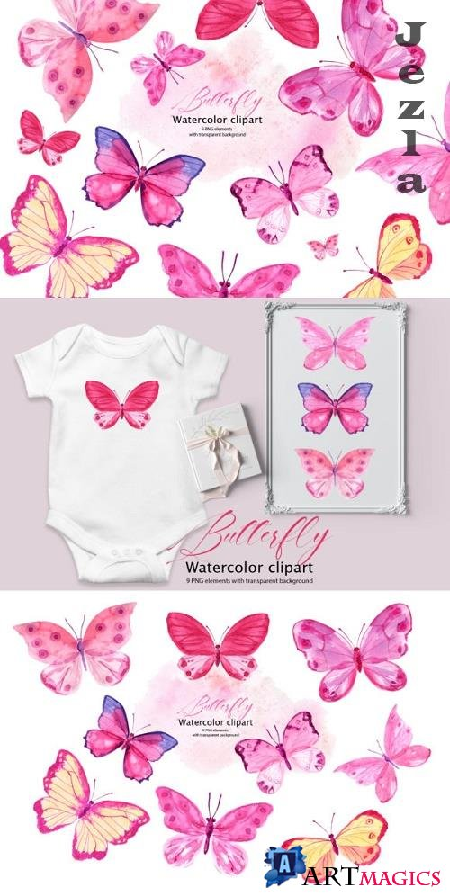 Pink Watercolor Butterflies