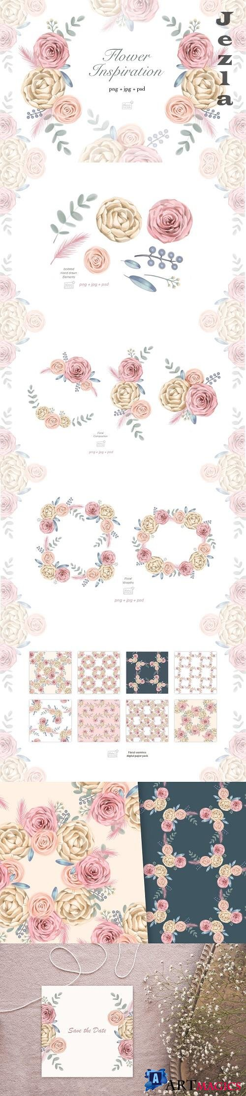 Watercolor cream roses cliparts - 4777526