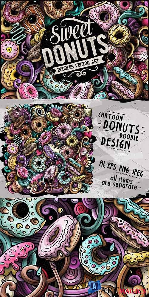 Donuts Vector Doodle Illustration - 3336699