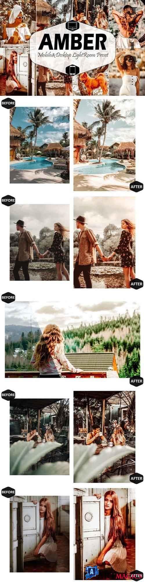 10 Amber Mobile & Desktop Lightroom Presets, warm LR preset - 616916