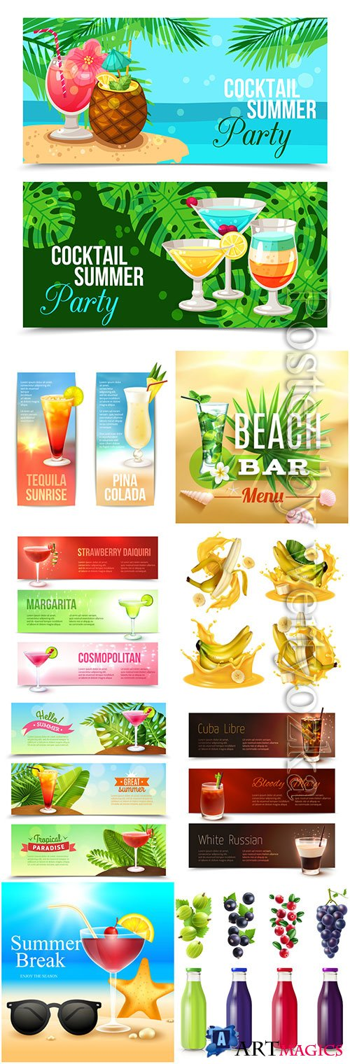 Summer cocktails and drinks vector illustration