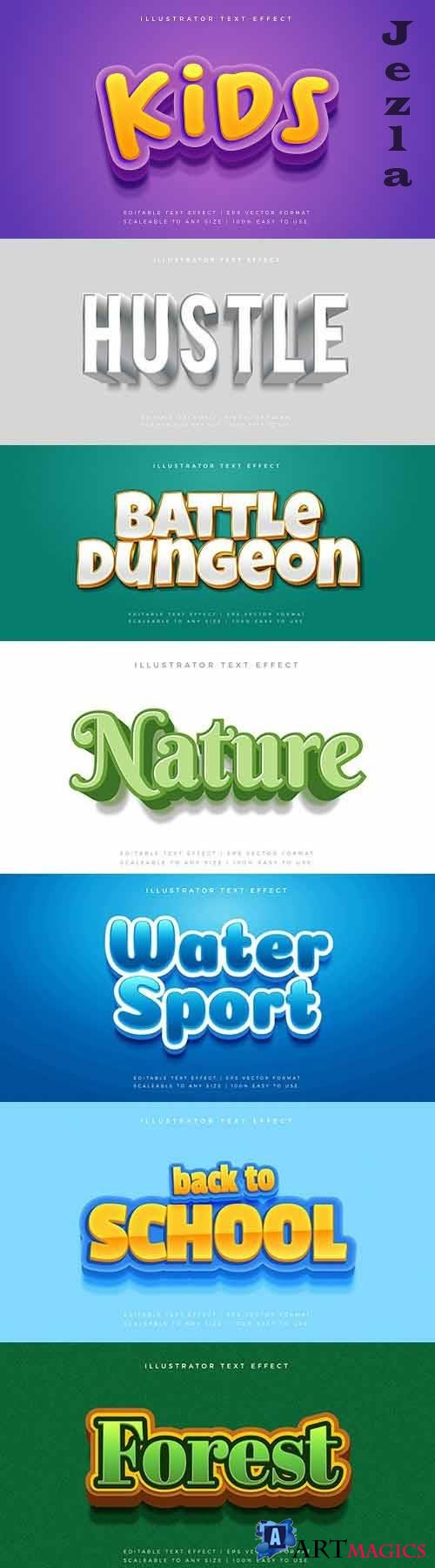 Editable font effect text collection illustration design 128
