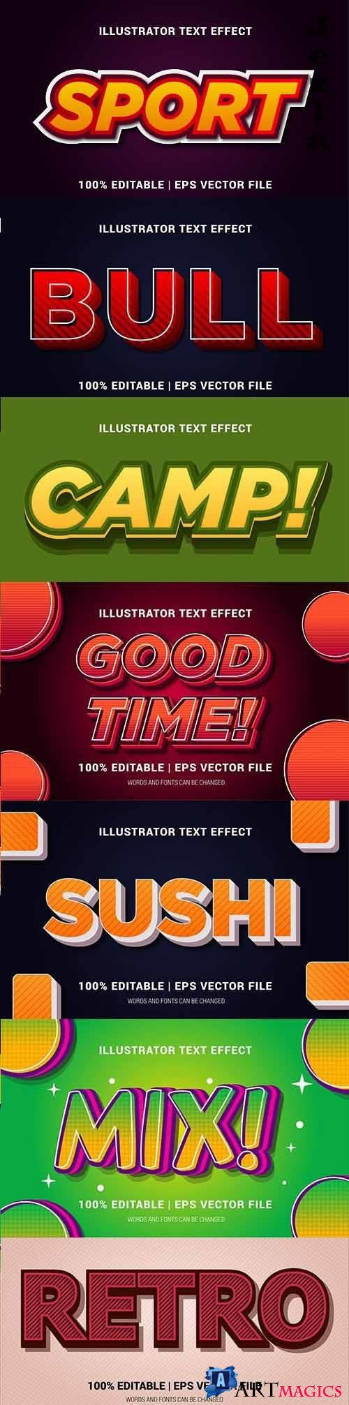 Editable font effect text collection illustration design 129