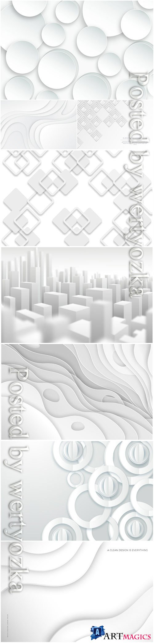 White 3d vector template abstract background