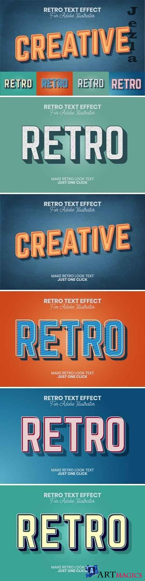 Retro Text Effect for Illustrator