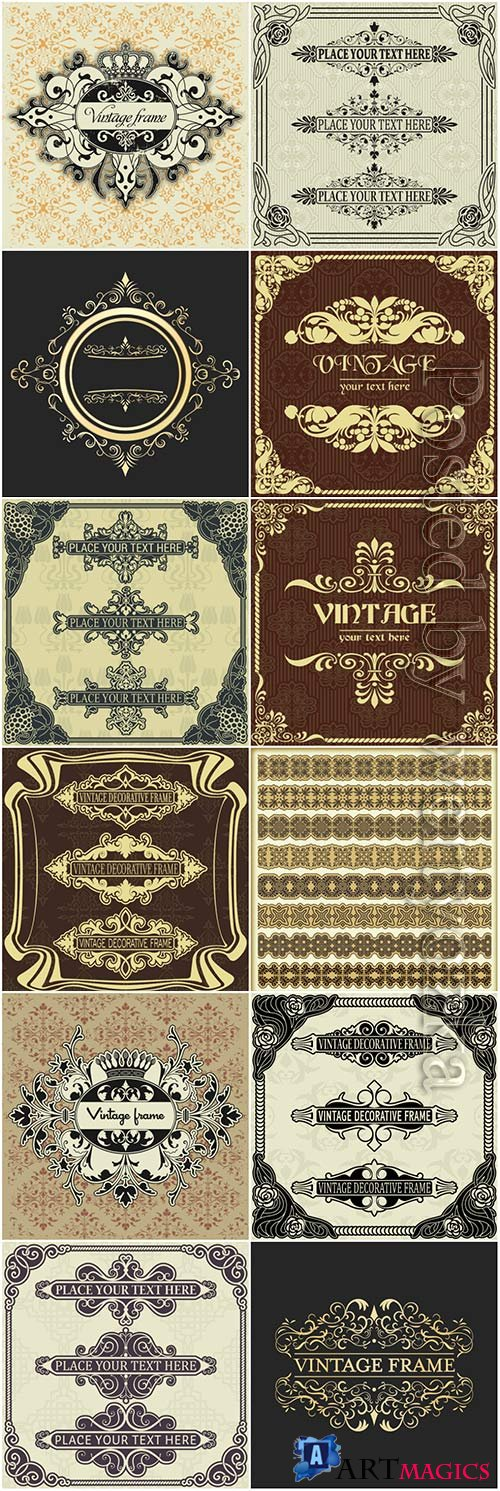 Vintage frame, ornaments elements vector collection