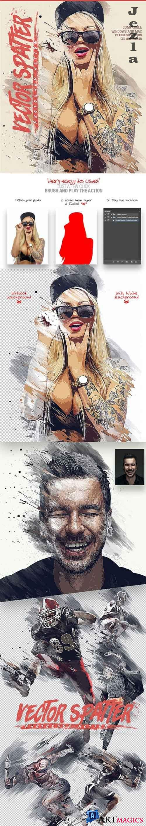Vector Spatter Photoshop Action 27115313