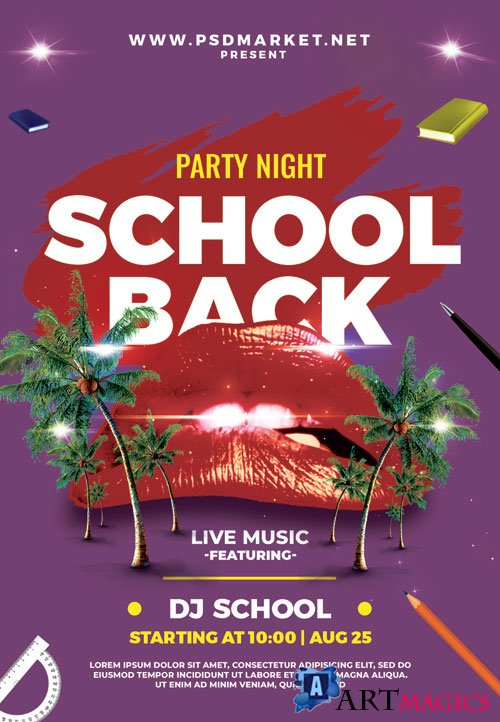 School back party - Premium flyer psd template