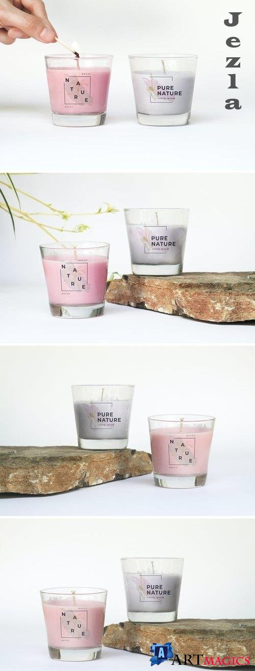 Cosmetic Candle Glass Mockup