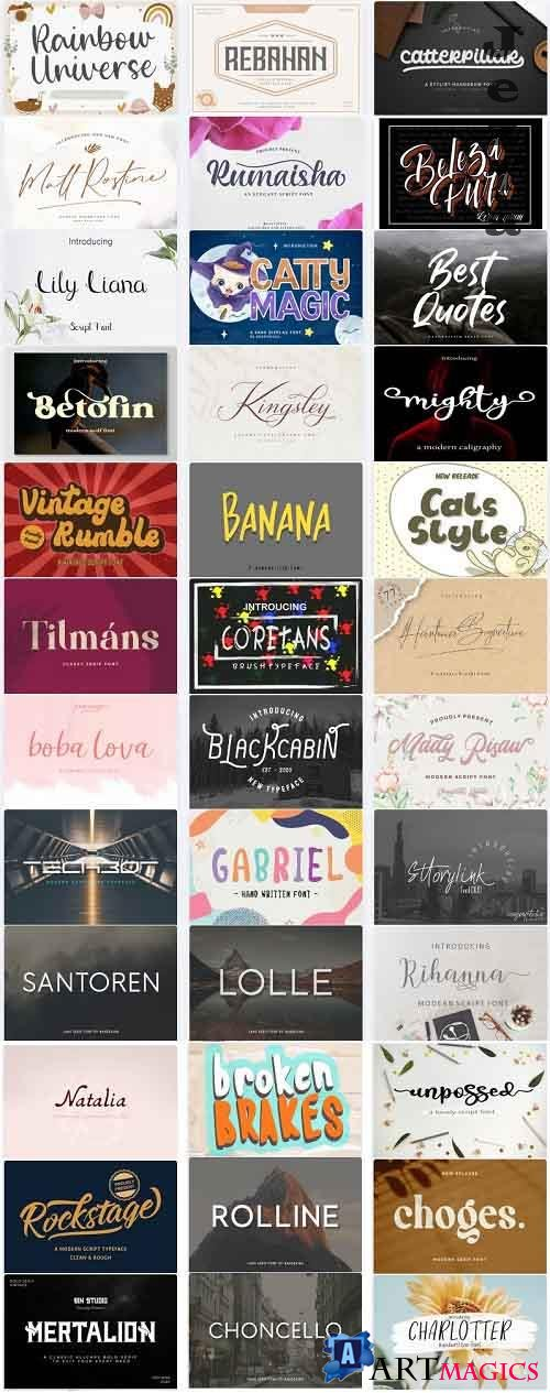 Mix Font Bundle 30- 36 Premium Fonts