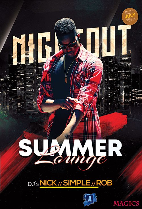 Summer Lounge Nightout - Premium flyer psd template
