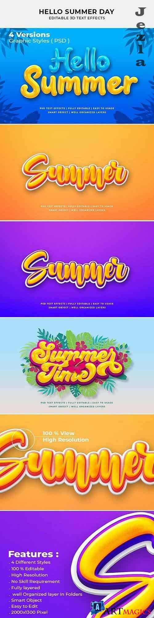 Hello Summer Day 3d Text Style Effect 27668919