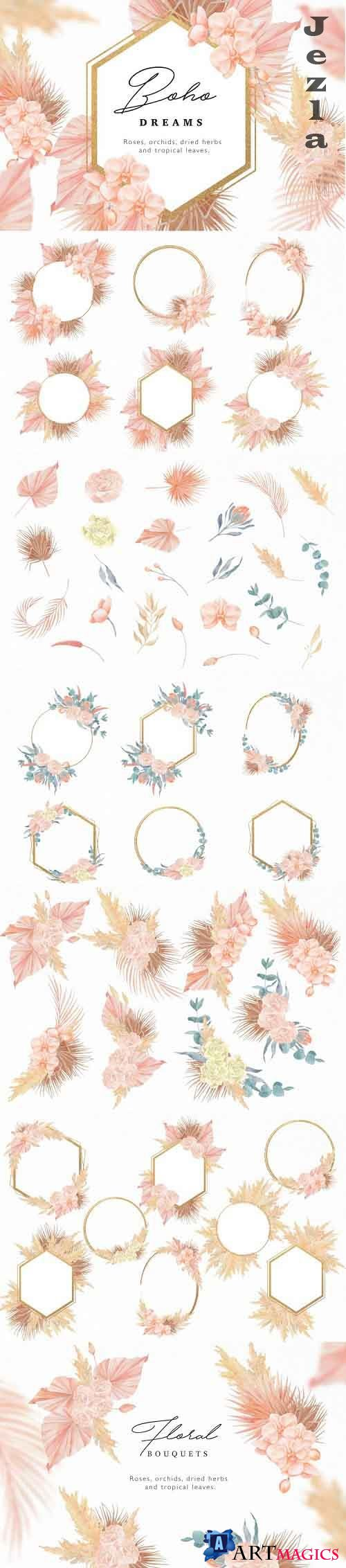 Boho Dreams Golden Frames Watercolor Flowers Collection - 877370