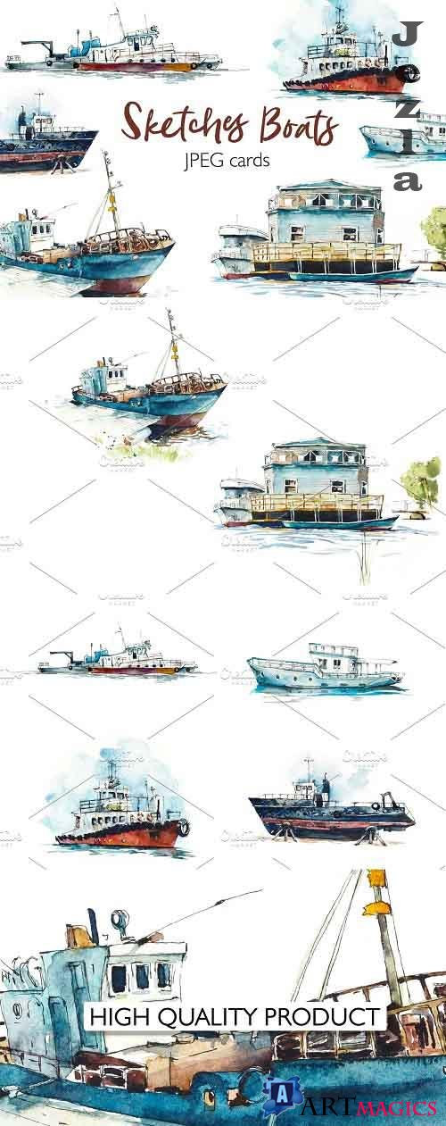 Watercolor boats cards - 5371674