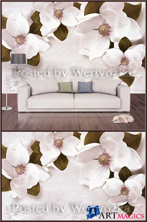 3D psd background wall white flowers