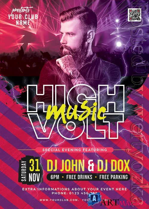 High Voltage Music Party Flyer PSD Template