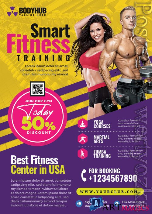 Fitness Gym Promotion Flyer PSD Template