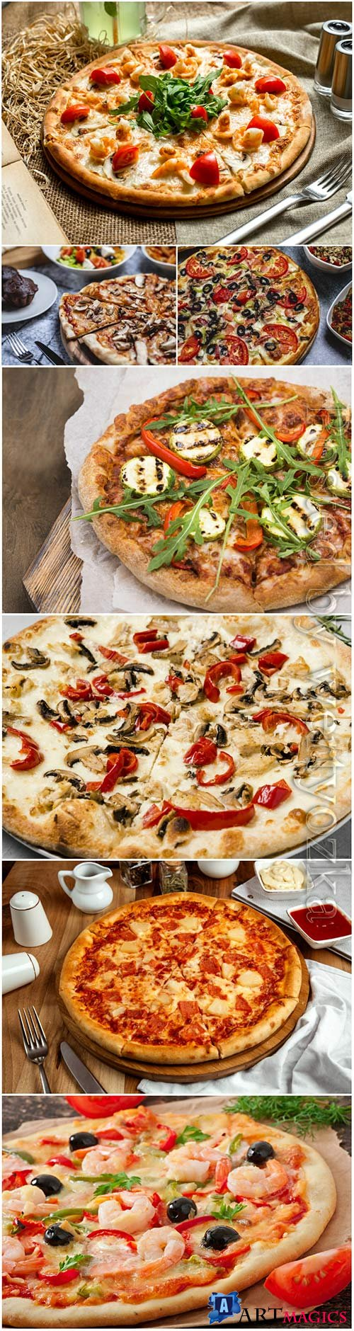 Pizza with meat, seafood, mushrooms and vegetables stock photo