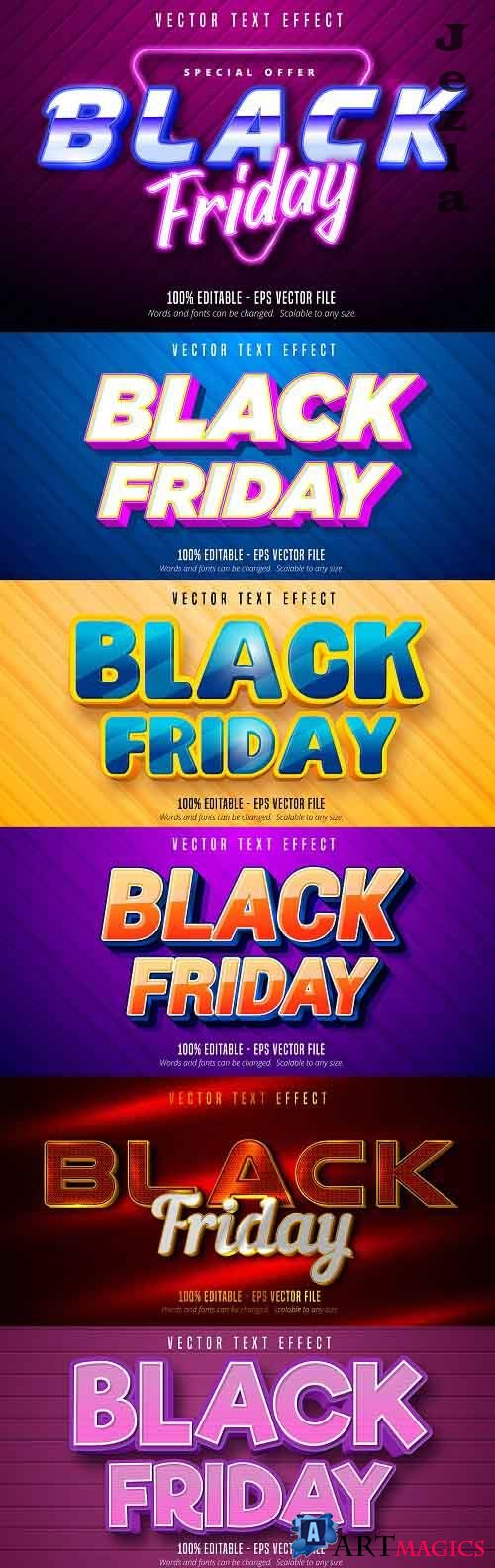 Editable font effect text collection illustration design 224 - Black Friday