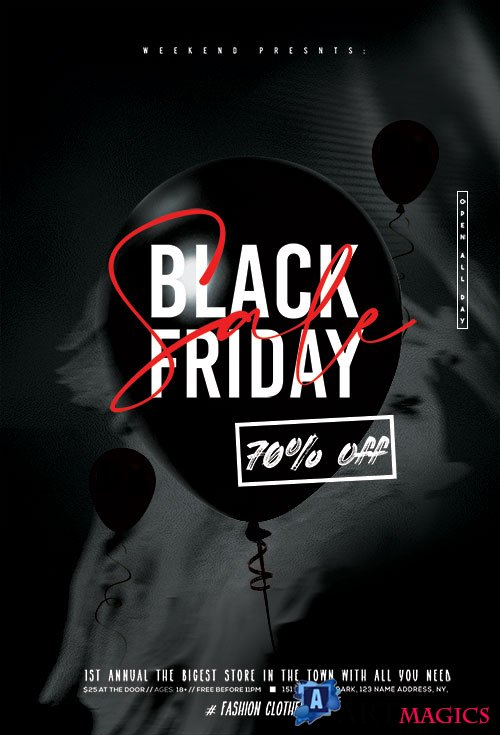 Black Friday Sale Discount Flyer PSD Template