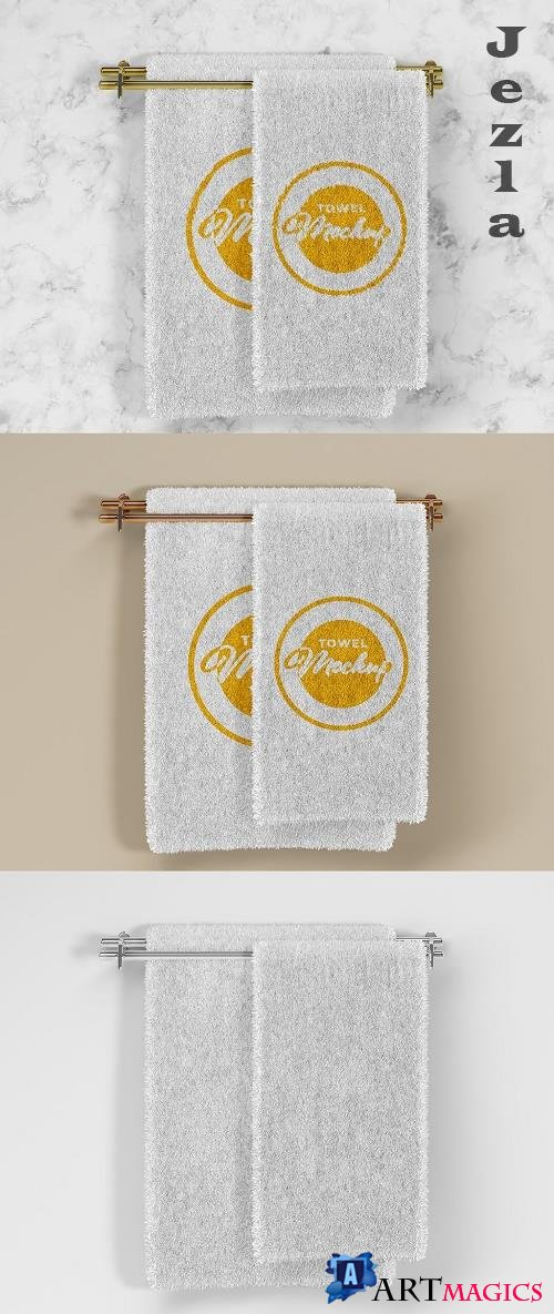 Folded Soft Terry Towel Mockup 385835709