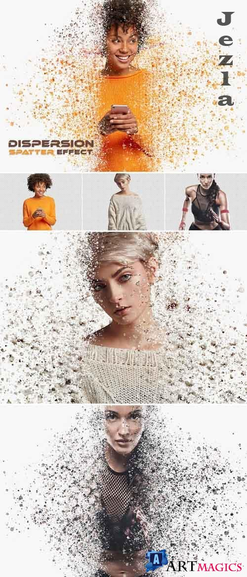 Dispersion Spatter Photo Effect with Particle Mockup 386971187