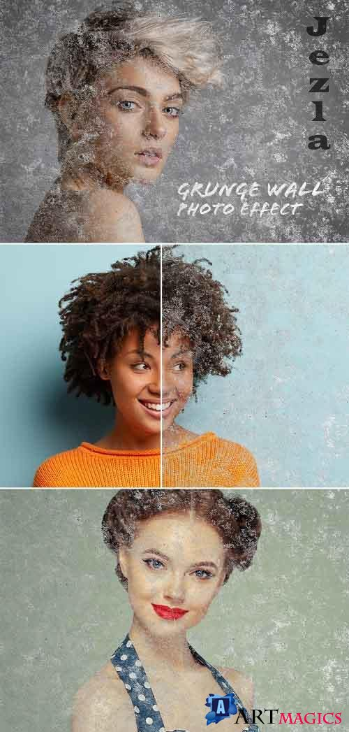 Old Grunge Wall Photo Effect Mockup 386971111