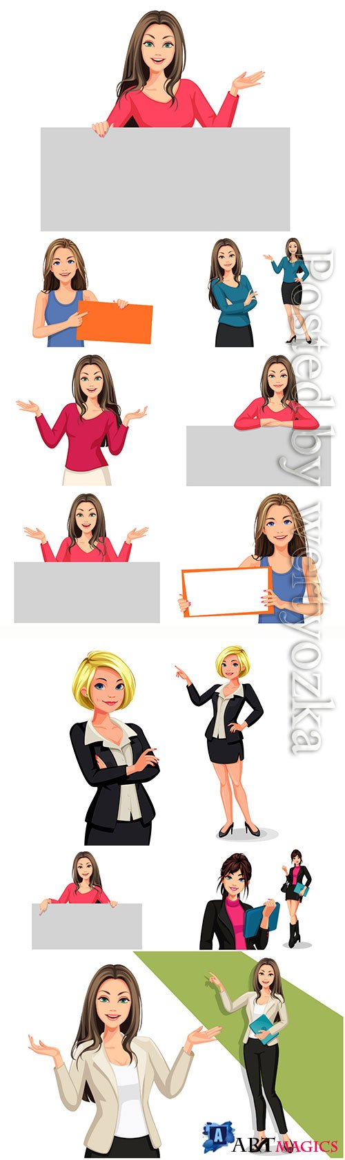 Beautiful vector women with the blank board, business woman