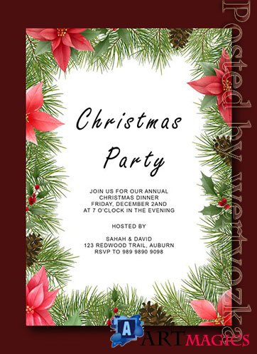 Merry christmas psd template with decoration