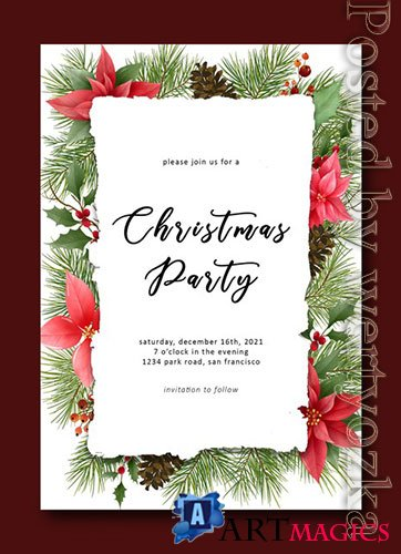 Merry christmas template with pine leaf decorations and christmas ornaments premium psd