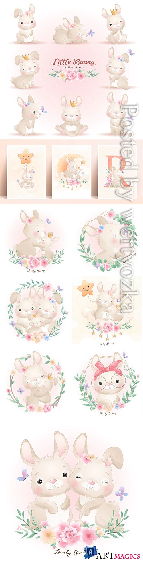 Cute doodle bunny poses with floral illustration premium vector