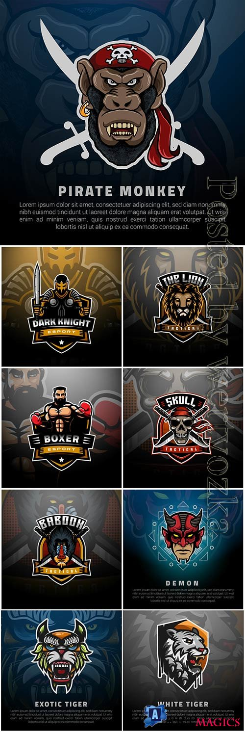 Mascot esport logo design premium vector vol 19