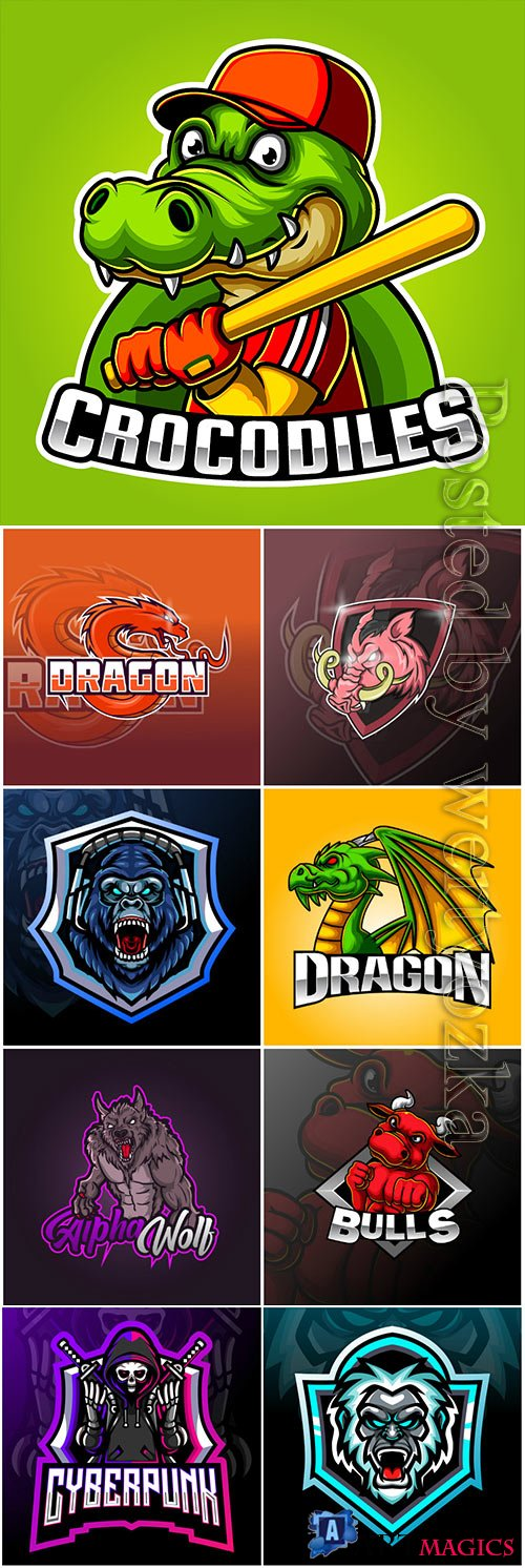 Mascot esport logo design premium vector vol 16