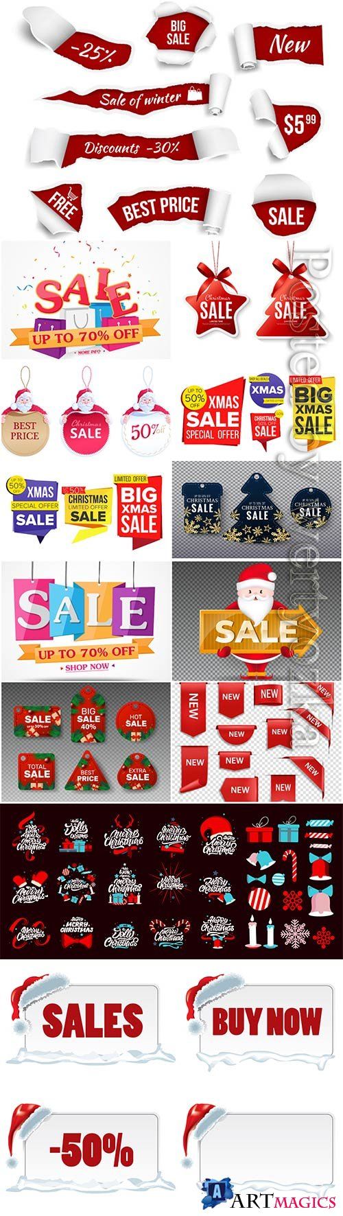 Christmas and new year stickers set, tags with labels