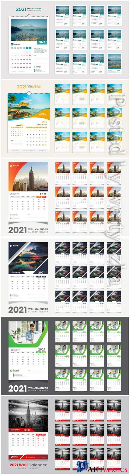 Desk calendar 2021 template design for new year vol 3