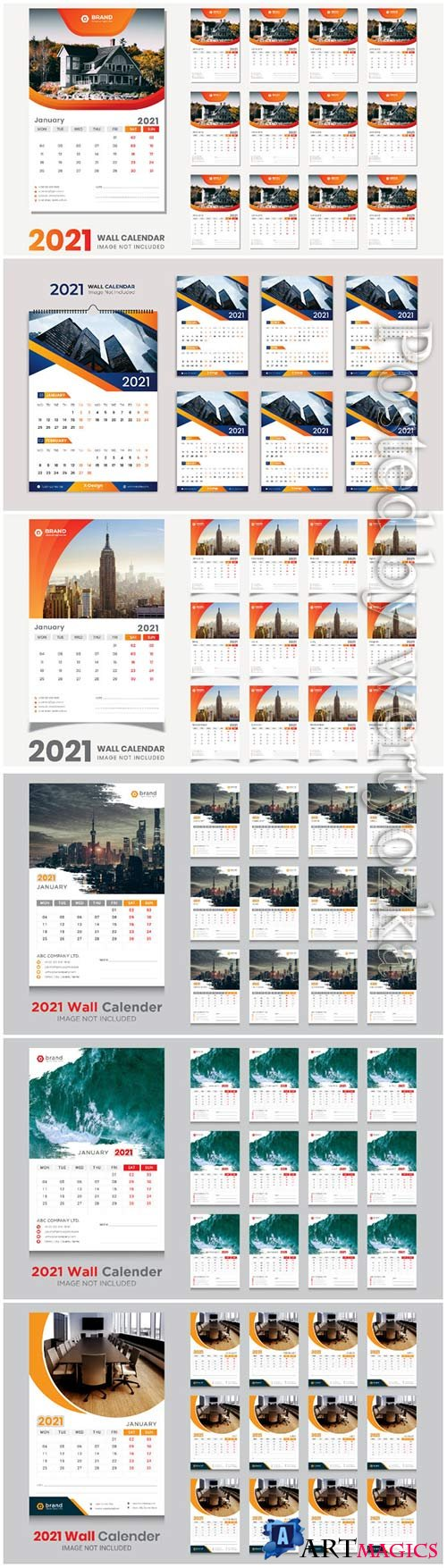 Desk calendar 2021 template design for new year vol 4