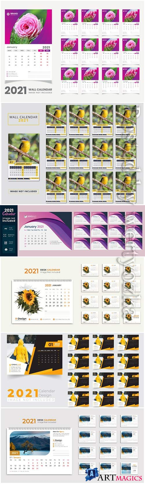 Desk calendar 2021 template design for new year vol 5