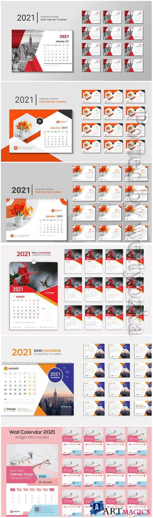 Desk calendar 2021 template design for new year vol 2