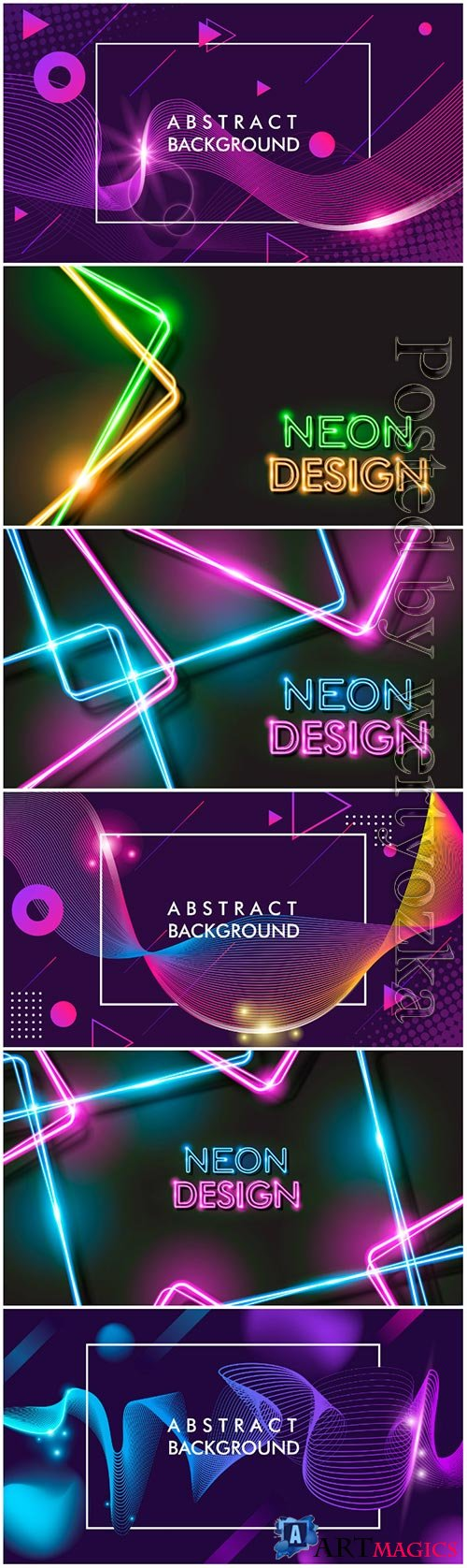 Abstract glowing neon black background design premium vector